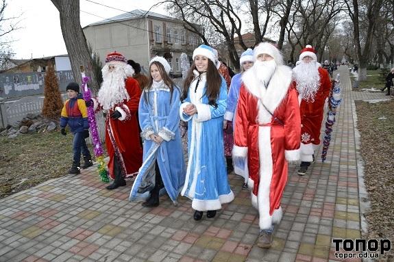 В Болграде прошёл парад Дедов Морозов и Снегурочек