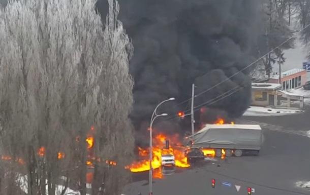 Масштабное ДТП в Киеве: сгорели несколько автомобилей