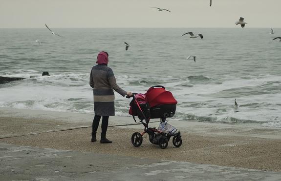 Январское море на одесском побережье: люди и чайки (фото)