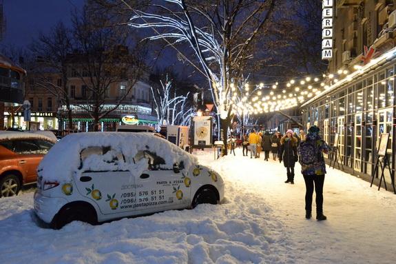 Вечерняя Одесса после снегопада (фотореп)