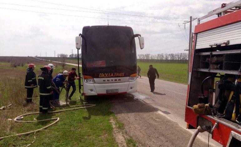 В Измаильском районе на трассе  загорелся автобус (ФОТО)