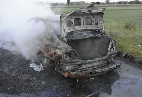 В Болградском районе сгорела BMW