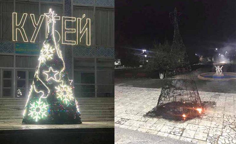 В Кубейской ОТГ сгорела главная новогодняя елка