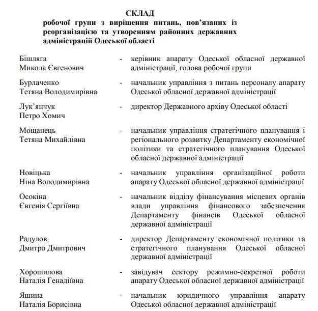 группа Одесской ОГА по реорганизации райгосадминистраций